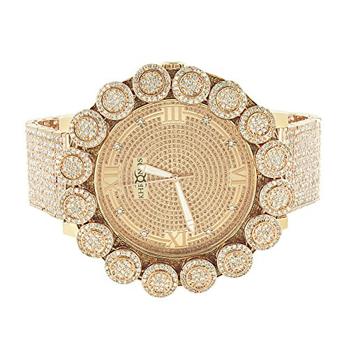 Rose Gold Finish Watch Genuine Diamond Dial Khronos Flower Custom Bezel Full Iced Out Hip Hop by Master Of Bling