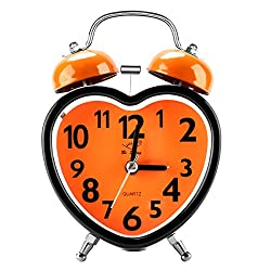Alarm Clocks for Bedrooms, Cute No Ticking Twin Bell with Backlight and Loud Alarm Clock for Teens (Orange of Heart Shaped)