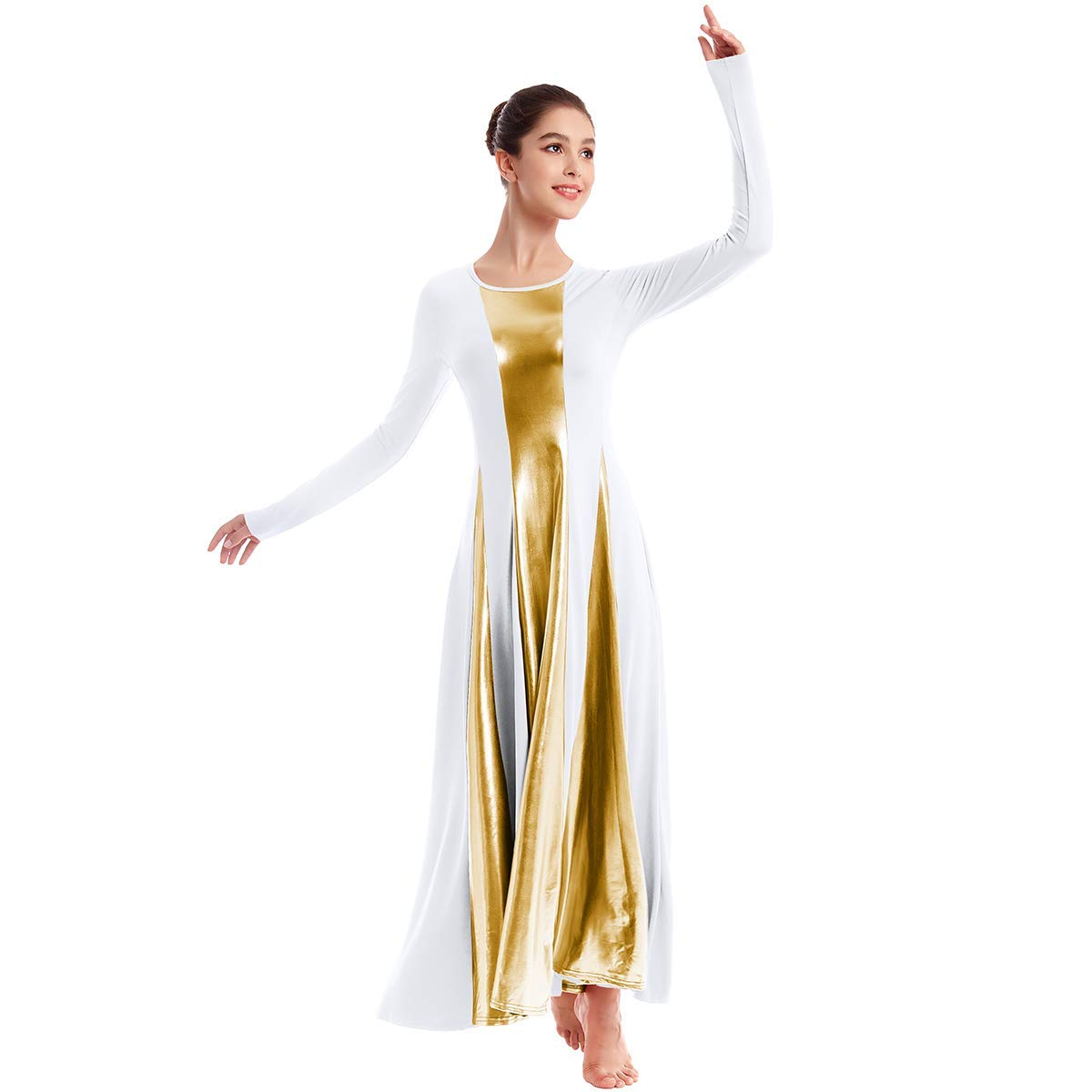 Womens Liturgical Praise Lyrical Dance Dress Loose Fit Full Length Metallic Color Block Long Sleeve Worship Costume Ballet Maxi Swing Gown White+Gold XXL by IBAKOM