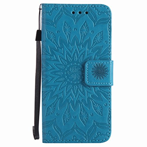 Yiizy Microsoft Lumia 550 Custodia Cover, Sole Petali Design Sottile Flip Portafoglio PU Pelle Cuoio Copertura Shell Case Slot Schede Cavalletto Stile Libro Bumper Protettivo Borsa (Blu)