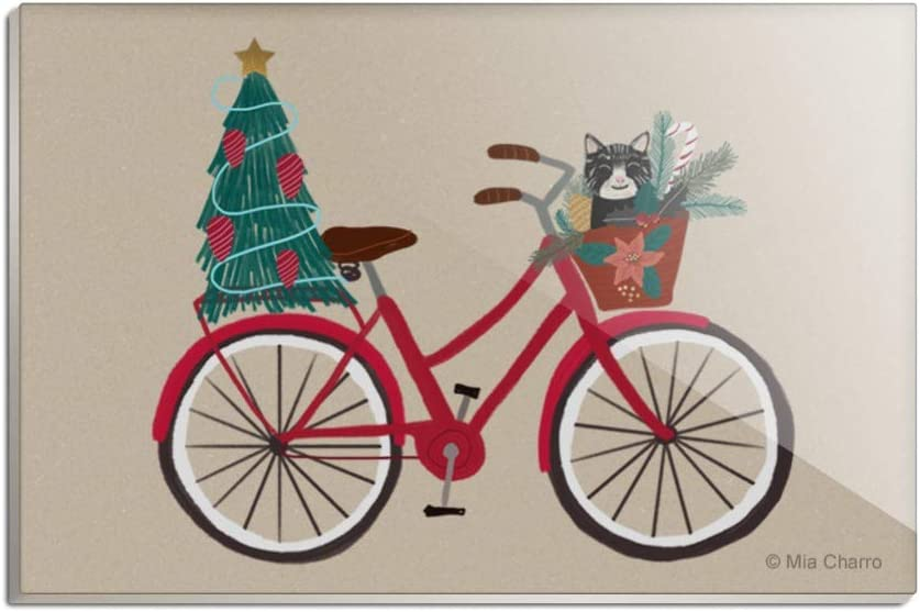 Christmas Bicycle Bike and Cat in Basket Rectangle Acrylic Fridge Refrigerator Magnet