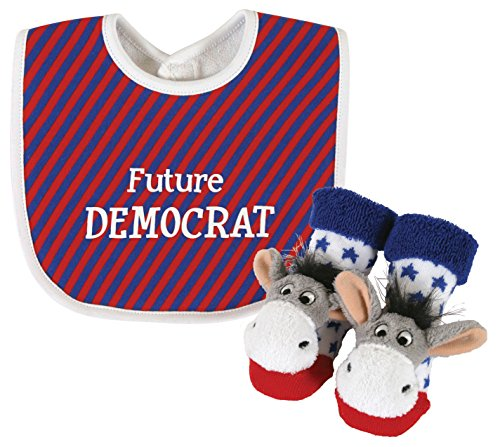 Stephan Baby Stripy Bib and Donkey Rattle Socks Gift Set, Future Democrat