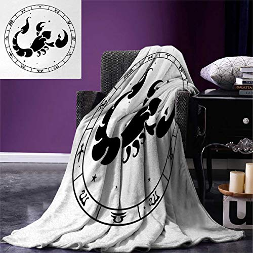"""Zodiac Scorpio Weave Pattern Extra Long Blanket Circular Astrological Chart with Abstract Animal in The Middle with Stars Custom Design Cozy Flannel Blanket 90""""x108"""" Multicolor"""