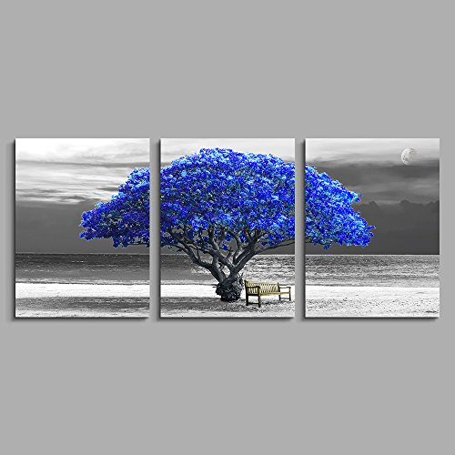 Black Panel 3 Piece - 3 Panels wall art for living room Decorations Photo Prints - panoramic black and white with blue trees The moon scenery - Modern Home Decor room Stretched Framed Ready to Hang artwork 12