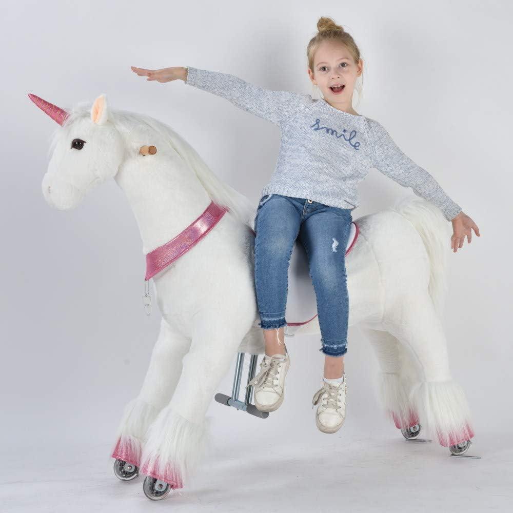 UFREE caballo grande mecánico mecedor de juguete, para cabalgar, saltar y andar, altura de 110 cm, para niños a partir de 6 años y adultos, unicornio con cuerno rosado.