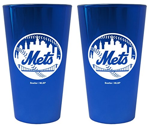 (New York Mets Lusterware Pint Glass Set)