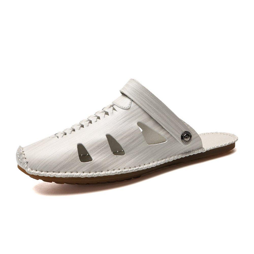 Sandalias de Pescador para Hombre Sandalia Respirable de Cuero Antideslizante Zapatillas de Playa de Verano Ajustables adecuadas para Deportes de Ocio Interior y Exterior 42 2/3 EU|White