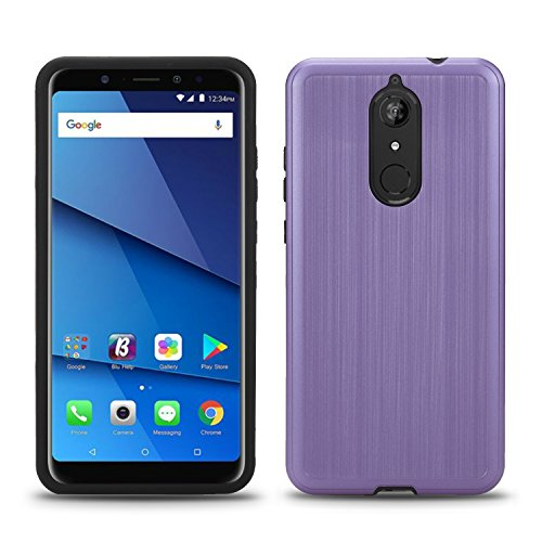 BLU Vivo XL3 Plus case, (V0210WW) 6 inch case, [ New Frontier Wireless], Tough Hybrid + Dual Layer Shockproof Drop Protection Metallic Brushed Case Cover for BLU Vivo XL3 Plus (VGC Light Purple)