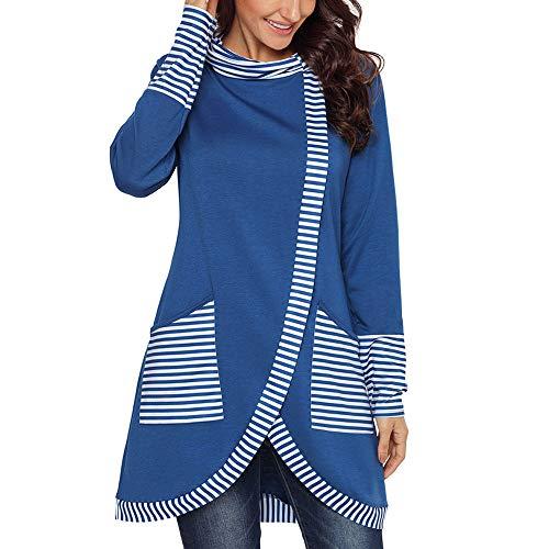 Belgius Women's Long Sleeve Stripe Sweatshirt Cowl Neck Asymmetry Tunic Pullover Tops Blue 2XL -