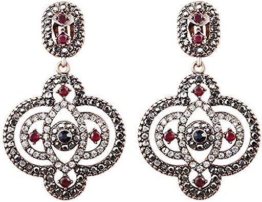 Lujo turco estilo grande colgante pendientes para las mujeres oro antiguo color mosaico resina pendiente cristal regalo vintage joyería