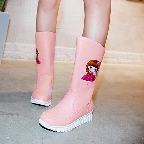 Carolbar Mujeres Dual-purpose Girl Printed Moda Cute Dress Botas Pink