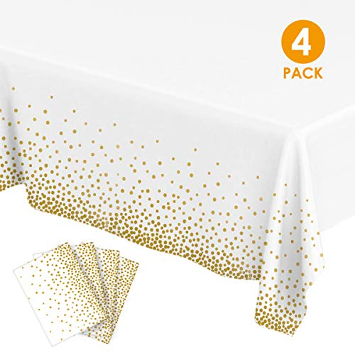 Plastic Tablecloths for Rectangle Tables, Party Table Cloths Disposable, Gold Dot Confetti Rectangular Table Covers for Parties Thanksgiving Christmas Wedding Anniversary-54 x 108 (4 Pack)