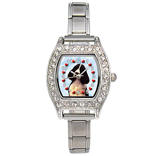 Timest - Cocker Spaniel - CZ Womens Stainless Steel Italian Charms Bracelet Watch BJS030 ()
