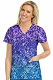 Med Couture Activate by Women's 8597'' in Motion V-Neck Print Top- Sprinkle Ombre- X-Large