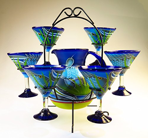 Hand Painted Glass Pitcher (Mexican Margarita/Martini Glasses and Pitcher set with dispaly rack, Hand Blown, Hand Painted, Blue with Fish in the Sea)