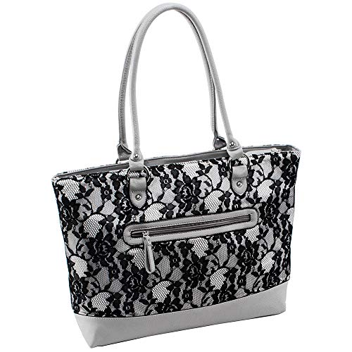 (Parinda Women's Aaryn Fabric With Faux Leather Tote, Grey Lace)