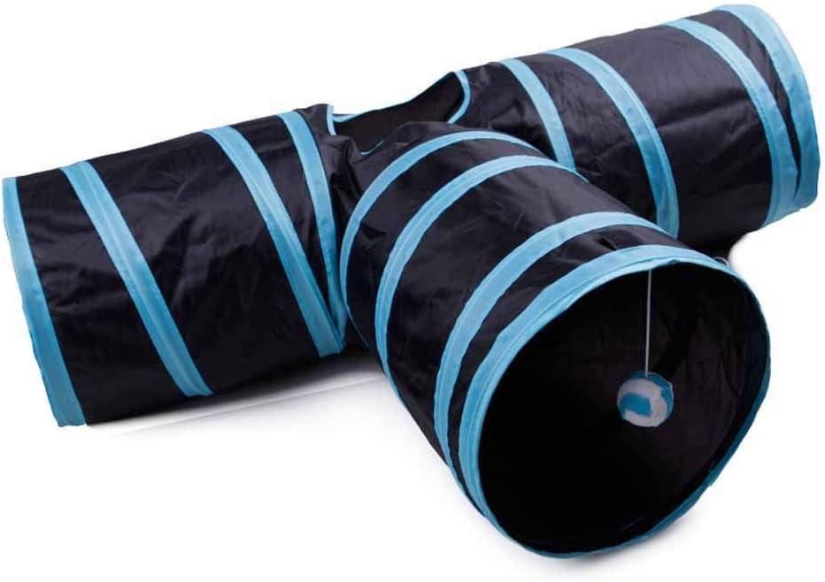 Túnel Mascota del Gato, Gato Papel De Sonido De La Camiseta del Túnel/Cubo De Canal Gato Plegable/Juguetes para Mascotas De Formación En Interiores Y Exteriores (Longitud 80 Cm),Azul