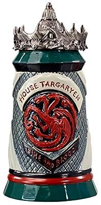 Game of Thrones House Targaryen Stein - 22 Oz Ceramic Base with Pewter Baratheon Crown Top