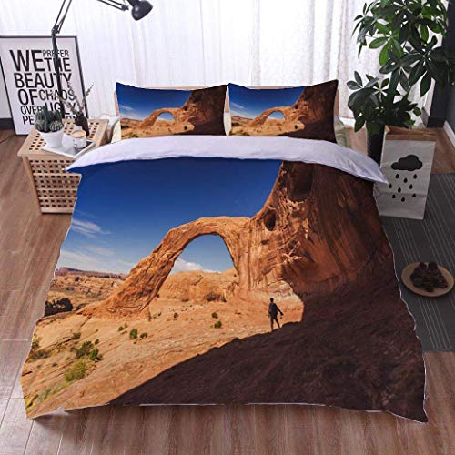 VROSELV-HOME 3pcs Duvet Cover Sets,Hiking in The Colorado Plateau Corona Arch Near Moab,Soft,Breathable,Hypoallergenic,Kids Bedding - Double Brushed Microfiber (Colorado Fiber Moab)