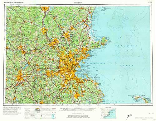 Hill Rollstone (YellowMaps Boston MA topo map, 1:250000 Scale, 1 X 2 Degree, Historical, 1956, Updated 1974, 21.8 x 28 in - Tyvek)