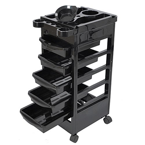 5 Layers Rolling Salon SPA Trolley Storage Cart Coloring Beauty Salon Hair Dryer Holder