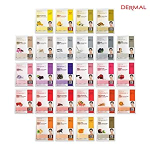 Dermal Korea Collagen Essence Full Face Facial Mask Sheet 26 Yellow & Red Combo Pack - Skin Nourishing, Elasticity