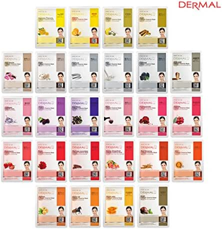 DERMAL Collagen Essence Full Face Facial Mask Sheet 26 Yellow & Red Combo Pack - Skin Nourishing, Elasticity