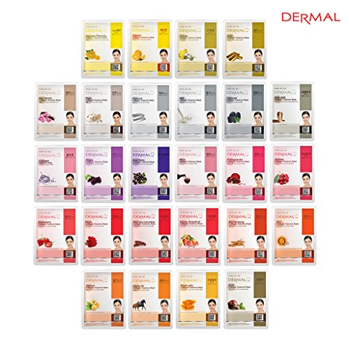 Price comparison product image Dermal Korea Collagen Essence Full Face Facial Mask Sheet 26 Yellow & Red Combo Pack - Skin Nourishing, Elasticity