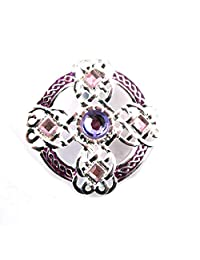 Silver Plated Celtic Brooch with Coloured Enamel And Faceted Stones.