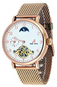Adee Kaye #AK7117-MBRG Men's Duke Royal Mesh Band Dual Time Open Heart Skeleton Automatic Watch