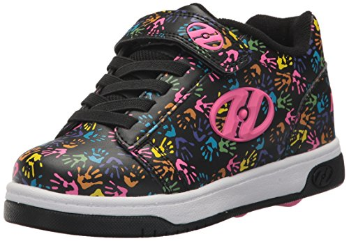 Heelys Girls' Dual Up X2 Sneaker, Black/Multi/Hands, 1 Medium US Little - Shoes Girls Black Heely