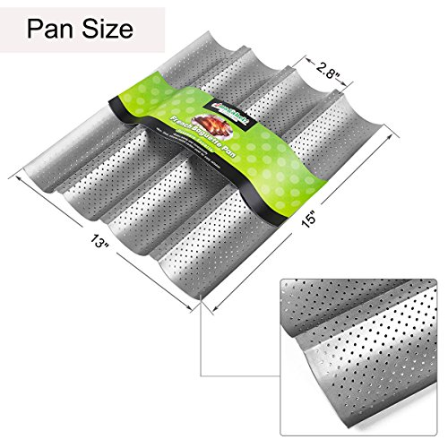 Amagabeli Nonstick Perforated Baguette Pan 15'' x 13'' for French Bread Baking 4 Wave Loaves Loaf Bake Mold Toast Cooking Bakers Molding 4 Gutter Oven Toaster Pan Cloche Waves Silver Steel Tray Italian by AMAGABELI GARDEN & HOME (Image #1)