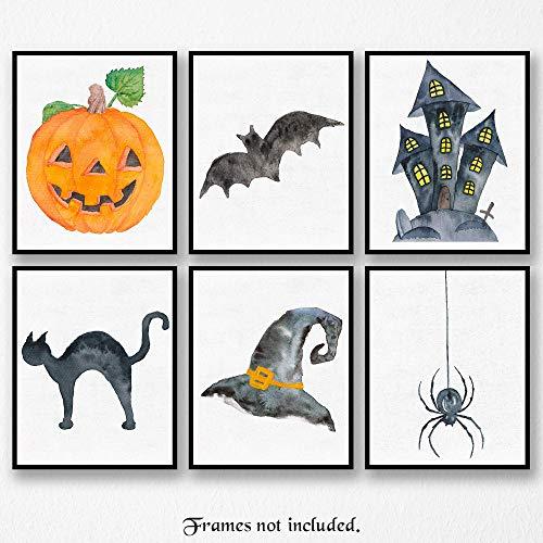 Halloween Art Poster Prints - Set of 6 (SIX) Photos - 8x10 Unframed - Great Wall Art Decor Gifts Under $20 for Bathroom, XXX