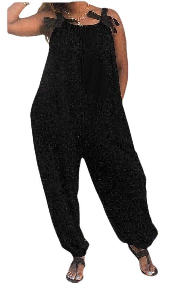 Lutratocro Womens Summer Sleeveless Playsuit Wide Leg Loose Jumpsuit