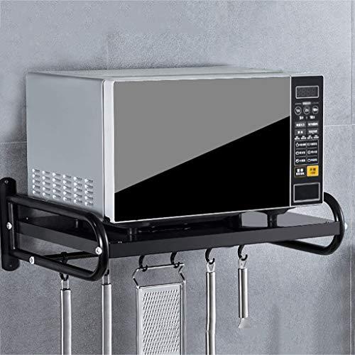 ZXUE Kitchen Shelf Wall Hanging Microwave Oven Rack Rack Seasoning Rack Receiving Hanging Bracket Seasoning Rack (Color : Black)