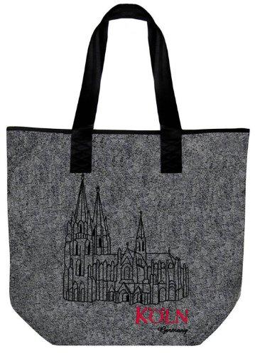 Modische Filztasche mit sehr schöner und hochwertiger Stickerei, Modell Köln/Dom Maße: ca. 46,5x39,5cm