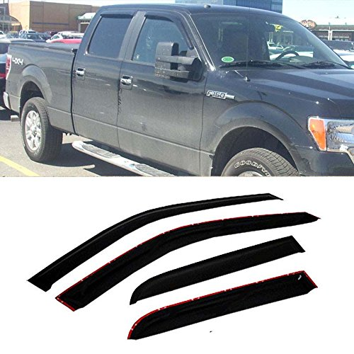 Mifeier Sun/Rain Guard Vent Shade Window Visors Wind Deflector For 09-14 Ford F-150 Super Crew Cab(4 full size doors) 4pc
