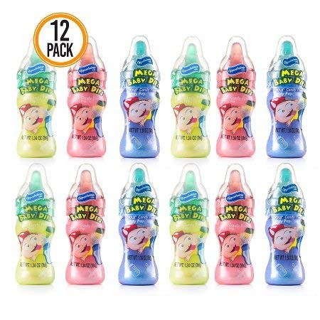 Baby Bottle Candy Dippers - 12-Pack Sugar Candy Powder and Candy Pop in Assorted Colors and Flavors (Kosher, NET WT 16.08 OZ, 456g)
