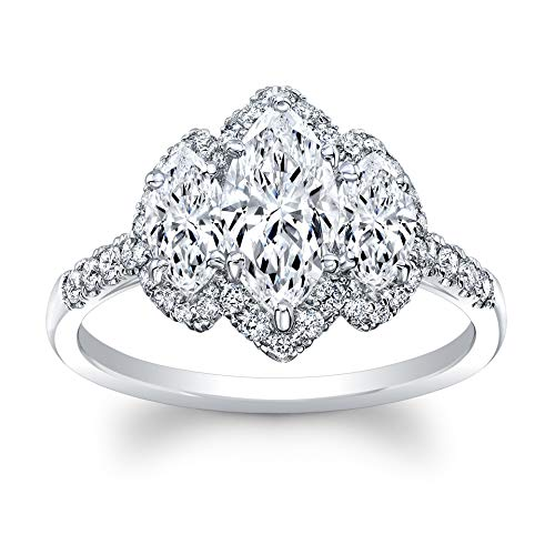 3 Stone Marquise Cut Diamond Set in 18K White Gold Single Shank Pave Ring (Certified AGS .65 Center Stone I-J, SI1, 2 Side Stones .68 TW, 38 Full Cuts .34 TW)