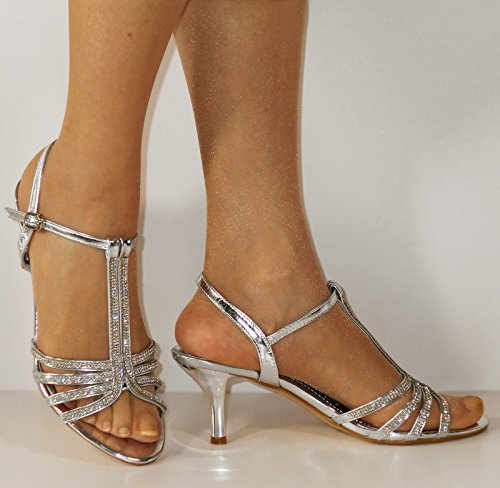Party Low Straps Silver Shoes Black Ladies 30 Prom Ankle 105 Diamante Sandals Styles Kitten Heel on Silver Gold Rock wvPBqgYnI