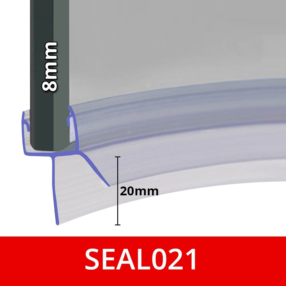 Pre Curved Shower Screen Door Seal | Fits 8mm Glass | Seals Gaps Of Up To 20mm | 850mm Long | SEAL021 Shower Seal UK