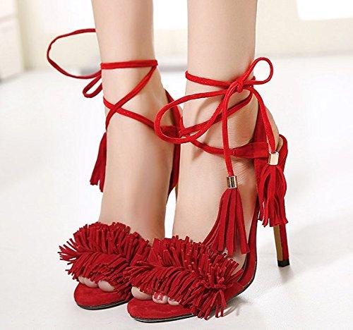 Xing Lin Zapatos De Verano Para Las Mujeres Cuñas Pasarela De Verano 10Cm Tira De Roma Sandalias Adornadas Con Fino Estilete Roja Hembra Red 888-1