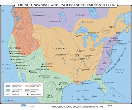 French Spanish English Settlements Us History Wall Maps Maps - Us-map-in-spanish
