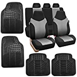 2011 dodge avenger seat covers - FH Group FH-FB101115 Gray/Black Supreme Twill Fabric High Back Car Seat Cover (Full Set Airbag Ready and Split Rear Bench) W. F11305 Black All Weather Heavy Duty Auto Floor Mats