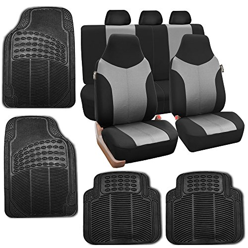 (FH Group FB101115 Gray/Black Supreme Twill Fabric High Back Car Seat Cover (Full Set Airbag Ready and Split Rear Bench) w. F11305 Black All Weather Heavy Duty Auto Floor Mats)