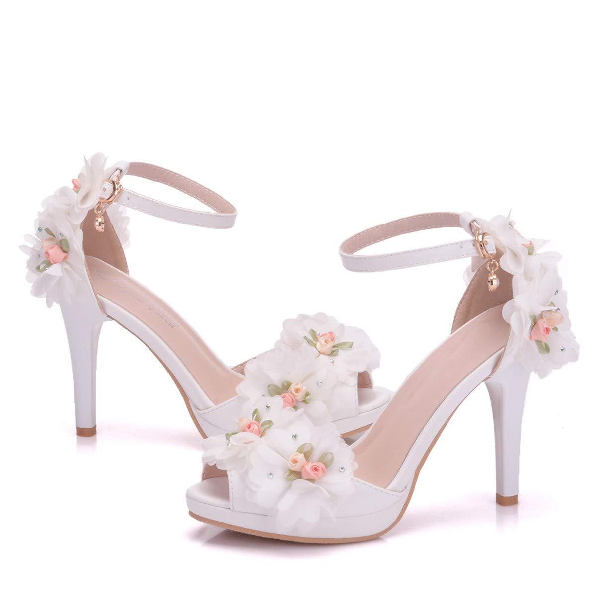 LBTSQ-Fisch im Mund Spitzen-Sandalen die Schuhe mit Einem Wort - Hochzeit Braut Schuhe Schuhe Blumen Mode Damenschuhe.Thirty-Five weiße - Wort 43c57d