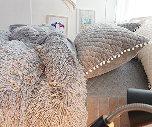 Ceruleanhome 2pc 100% Velvet Flannel Pillow Shams, Solid Color, No Inside Filler (2pc Pillow Cases, Grey)