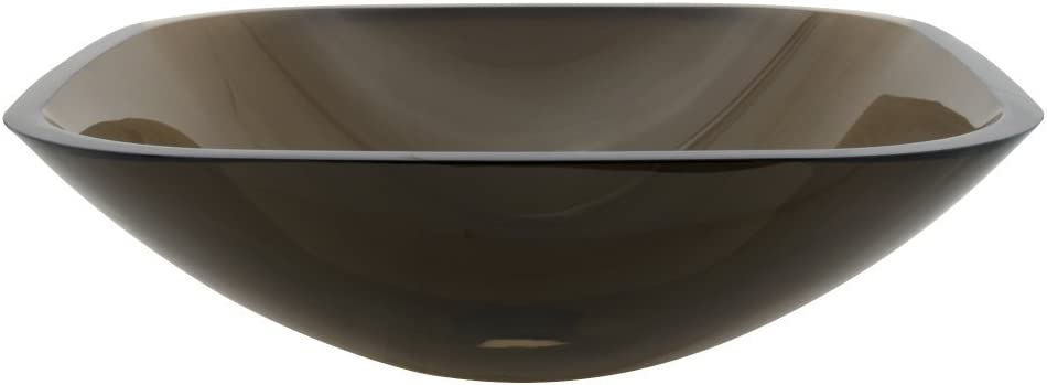 Elements of Design EVSQFW4 Glass Above counter square Bathroom Sink, 20.3 x 20.1 x 9.1 inches, Amber Brown