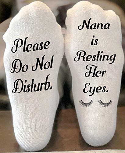 Please Do Not Disturb Nana Is Resting Her Eyes Funny Novelty Funky Crew Socks Men Women Christmas Gifts Slipper Socks