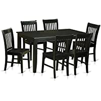 East West Furniture DUNO7-BLK-W 7 Piece Kitchen Table and 6 Dining Chairs Set